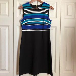 Calvin Klein Black & Blue Scuba Sheath Dress